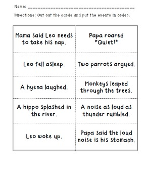 The Loudest Lion: verbs & sequence of events lesson Common Core State Standards