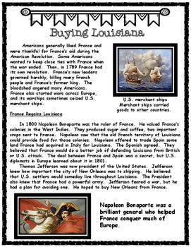 The Louisiana Purchase Text and Graphic Organizers