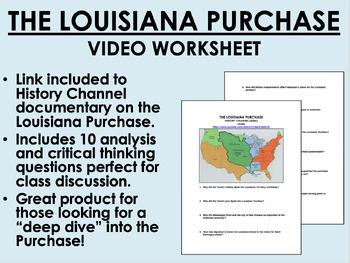 The Louisiana Purchase Video Worksheet   USH/APUSH by Epic ...