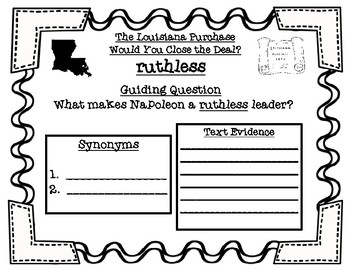 The Louisiana Purchase Would You Close the Deal? Chapter 2 Vocabulary Activities