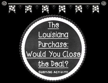 The Louisiana Purchase Would You Close the Deal? Text Structures Sorting Cards