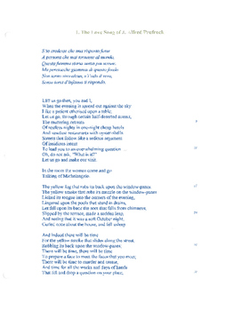 The Love Song of J. Alfred Prufrock Activity
