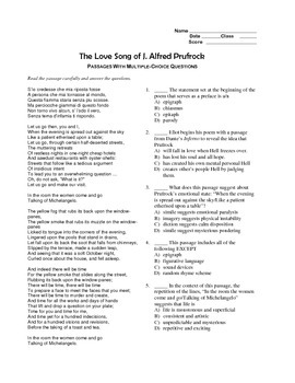 """""""The Love Song of J. Alfred Prufrock""""editable, AP Style,Test,Essay Prompts,Essay"""