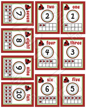 Numbers - Posters with Tens Frames - Ladybugs