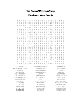 The Luck of Roaring Camp Vocabulary Word Search - Harte