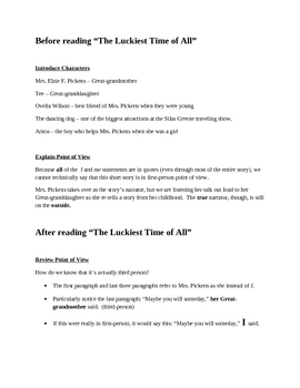 """The Luckiest Time"" Discussion Notes and Point of View Practice"