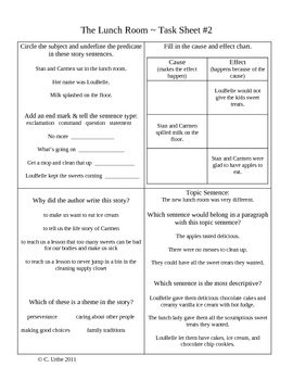 The Lunch Room Activity Sheets ~ Reader's Library ~ 3rd Grade