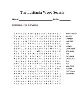 The Lusitania Word Search