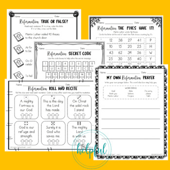 The Lutheran Reformation - Level 1 Activities *Print and Go!*