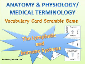 The Lymphatic and Immune Systems Vocabulary Scramble Game: Anatomy and MT