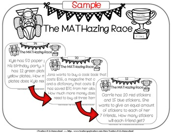 The MATHazing Race 3rd Grade SET 2 Multi-Step Word Problems