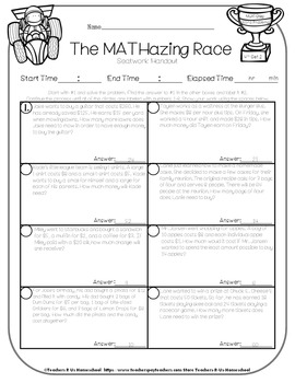 The MATHazing Race 4th Grade SET 2 Multi-Step Word Problems