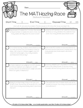 The MATHazing Race 4th Grade SET 1 Word Problems