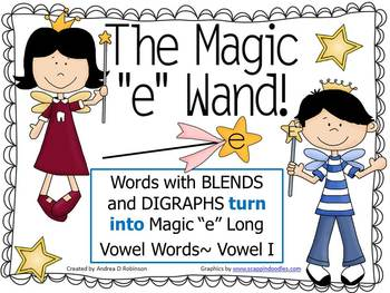 """The Magic """"E"""" Wand with Blends & Digraphs using Vowel I"""