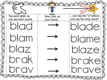 """The Magic """"E"""" Wand with Blends and Digraphs using Vowel A"""