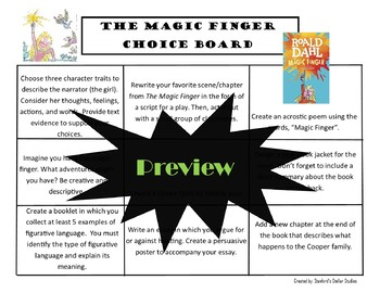 The Magic Finger Choice Board Novel Study Activities Menu Book Project Rubric