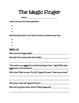 """The Magic Finger"" Guided Reading Unit"