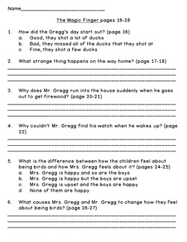 The Magic Finger--Level N--Guided Reading Comprehension Questions
