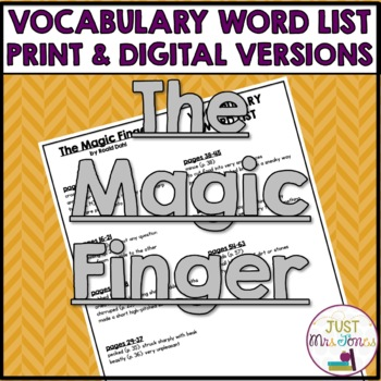 The Magic Finger Vocabulary Word List