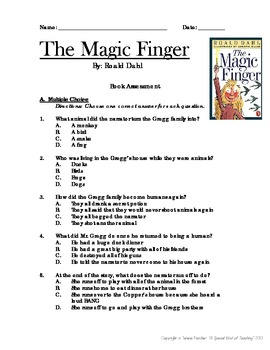 The Magic Finger Worksheets & Teaching Resources | TpT