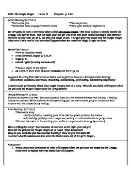 The Magic Finger guided reading plan