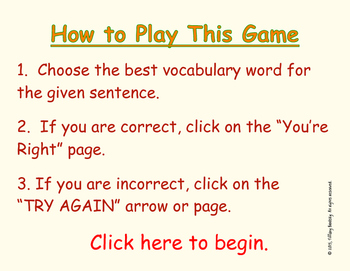 The Magic Gourd Vocabulary Interactive Game Fill-In Blanks