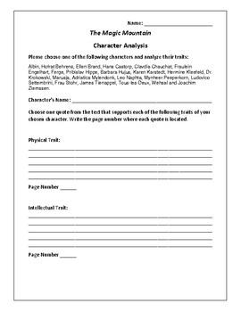 The Magic Mountain - Character Analysis Activity - Thomas Mann