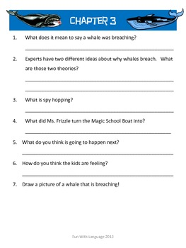 The Magic School Bus #3 Wild Whale Watch Comprehension Worksheets Science