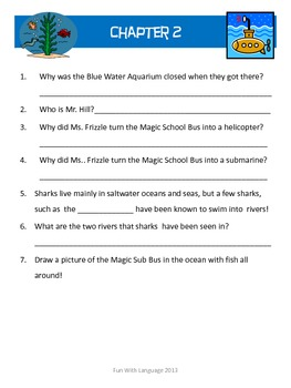 The Magic School Bus #7 Great Shark Escape Worksheets for Comprehension Science