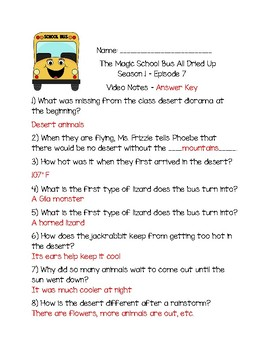 The Magic School Bus All Dried Up - Questions and Writing