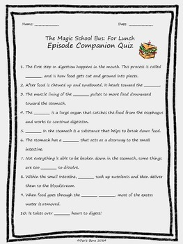 The Magic School Bus For Lunch: Episode Quizzes, Keys & Discussion Questions