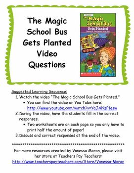the magic school bus gets planted video questions by vanessa moran. Black Bedroom Furniture Sets. Home Design Ideas