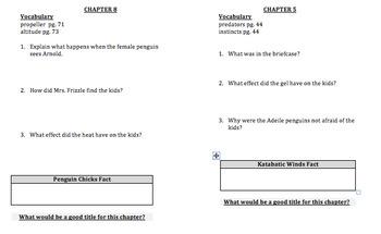 The Magic School Bus Penguin Puzzle - Comprehension Questions