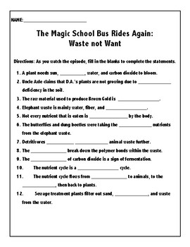 The Magic School Bus Rides Again Waste Not Want By Madison Deyoung