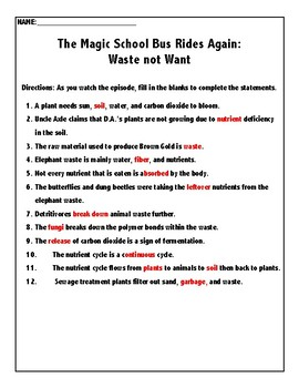 The Magic School Bus Rides Again: Waste Not Want
