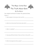 The Magic School Bus The Truth About Bats By Eva Moore Comprehension Packet