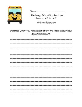 The Magic School Bus for Lunch - Questions and Writing