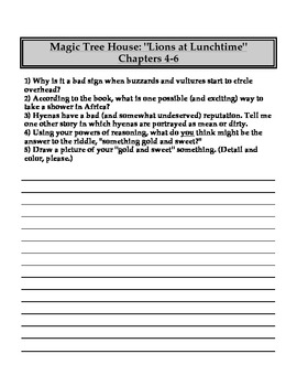 """""""The Magic Tree House"""" #11 (Lions) Chapter Questions"""