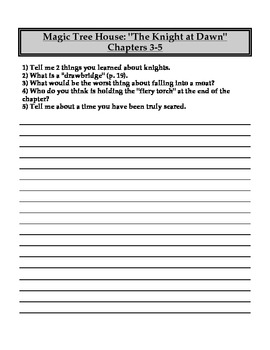 """""""The Magic Tree House"""" #2 (Knight) Chapter Questions"""