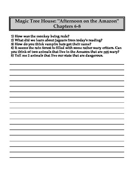 """The Magic Tree House"" #6 (Amazon) Chapter Questions"