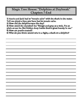 """""""The Magic Tree House"""" #9 (Dolphins) Chapter Questions"""
