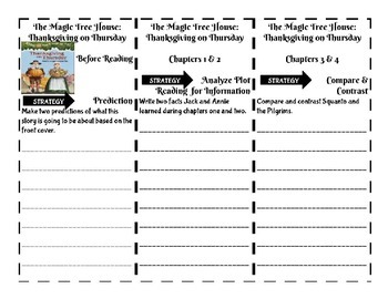 The Magic Tree House Thanksgiving on Thursday Comprehension Foldable