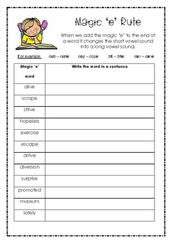 The Magic 'e' Rule- core and extension worksheet