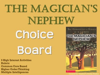 The Magician's Nephew Choice Board Novel Study Activities Menu Book Project