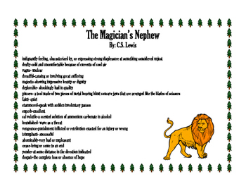 The Magician's Nephew Vocabulary and Worksheet