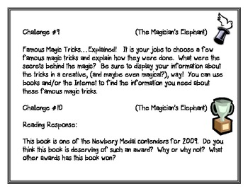 The Magician's Elephant, by K. DiCamillo, 10 Project Challenges