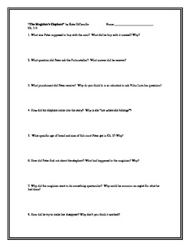 The Magician's Elephant, by K. DiCamillo, Comp. Questions