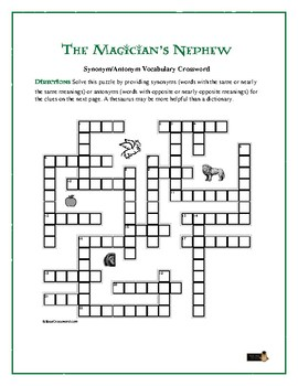 The Magician's Nephew: Synonym/Antonym Crossword—Use with Bookmarks Plus!