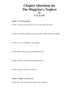 The Magician's Nephew by C.S. Lewis: Chapter Questions and Activities