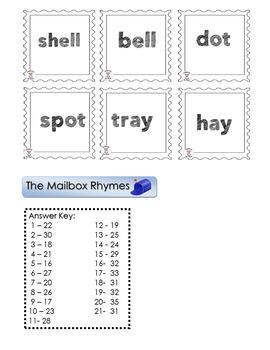 Phonemic Awareness-Rhyming - Mailbox Rhymes